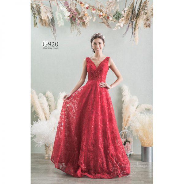 紅色小巧珠蕾絲晚裝 G920