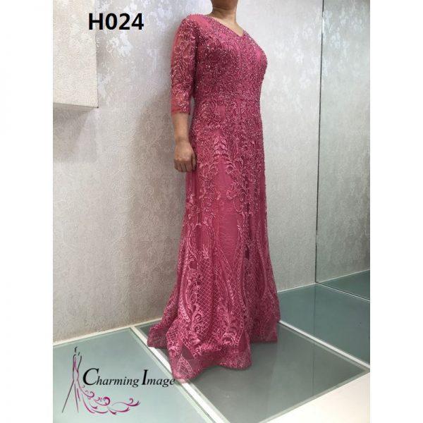 桃紅色V領花紋主婚人禮服 H024