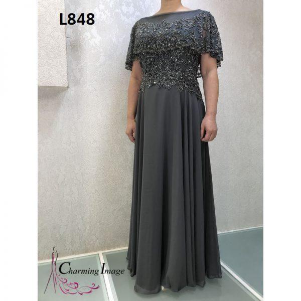 深灰色斗篷刺繡Aline主婚人禮服 L848