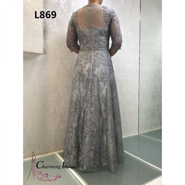 銀色平領領口七分袖暗花主婚人禮服 L869