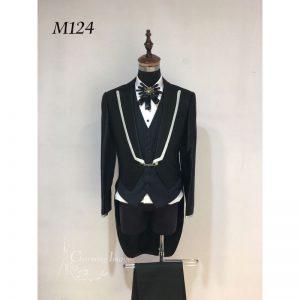 黑色白邊燕尾男士禮服 M124