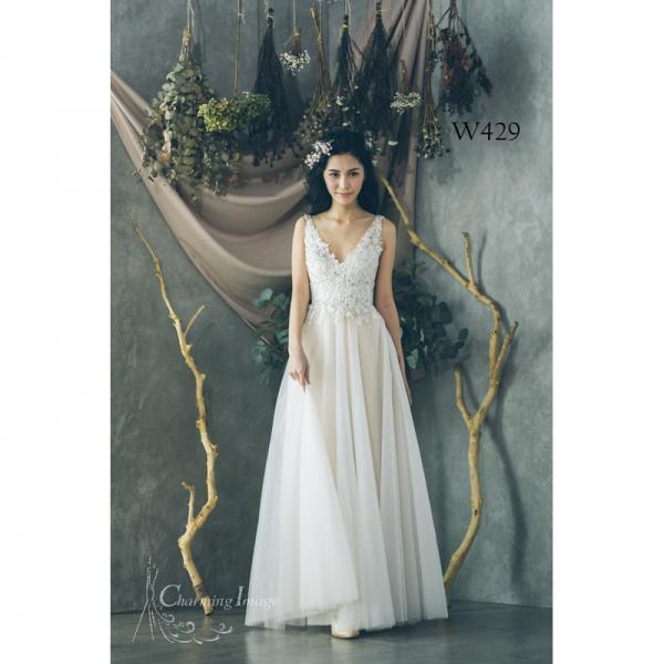 白色繡花性感V領齊地輕紗 W429