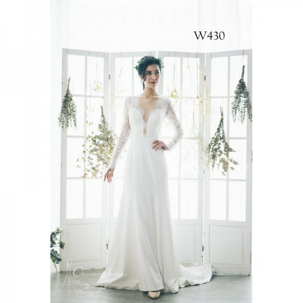 薄紗低胸長袖緞面婚紗 W430