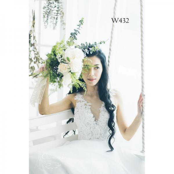 甜美公主無袖V領白蕾絲婚紗 W432