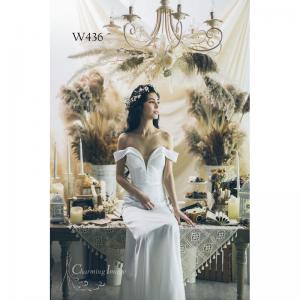 白月光緞面經典魚尾婚紗 W436