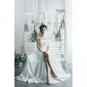 性感開衩齊地緞面婚紗 W437