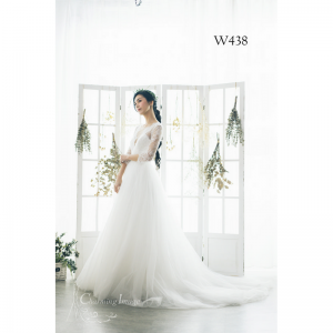 低胸多層次薄紗長袖婚紗 W438