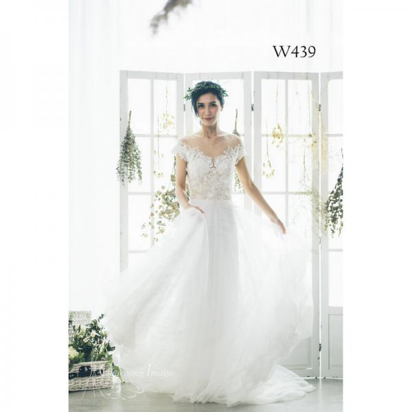 蕾絲繡花V領浪漫婚紗 W439