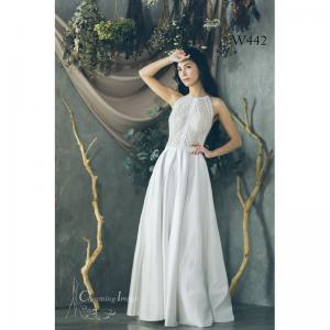 高貴無袖編織緞面婚紗 W442